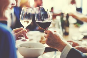 Cheers of two wine glasses