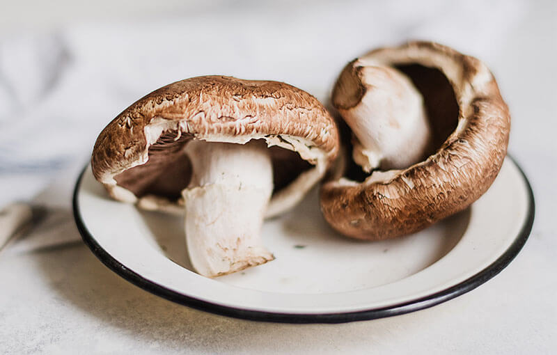 Two mushrooms on plate