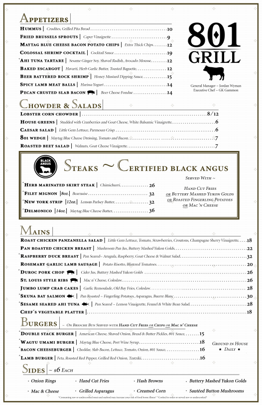 801 Grill Menu for the website