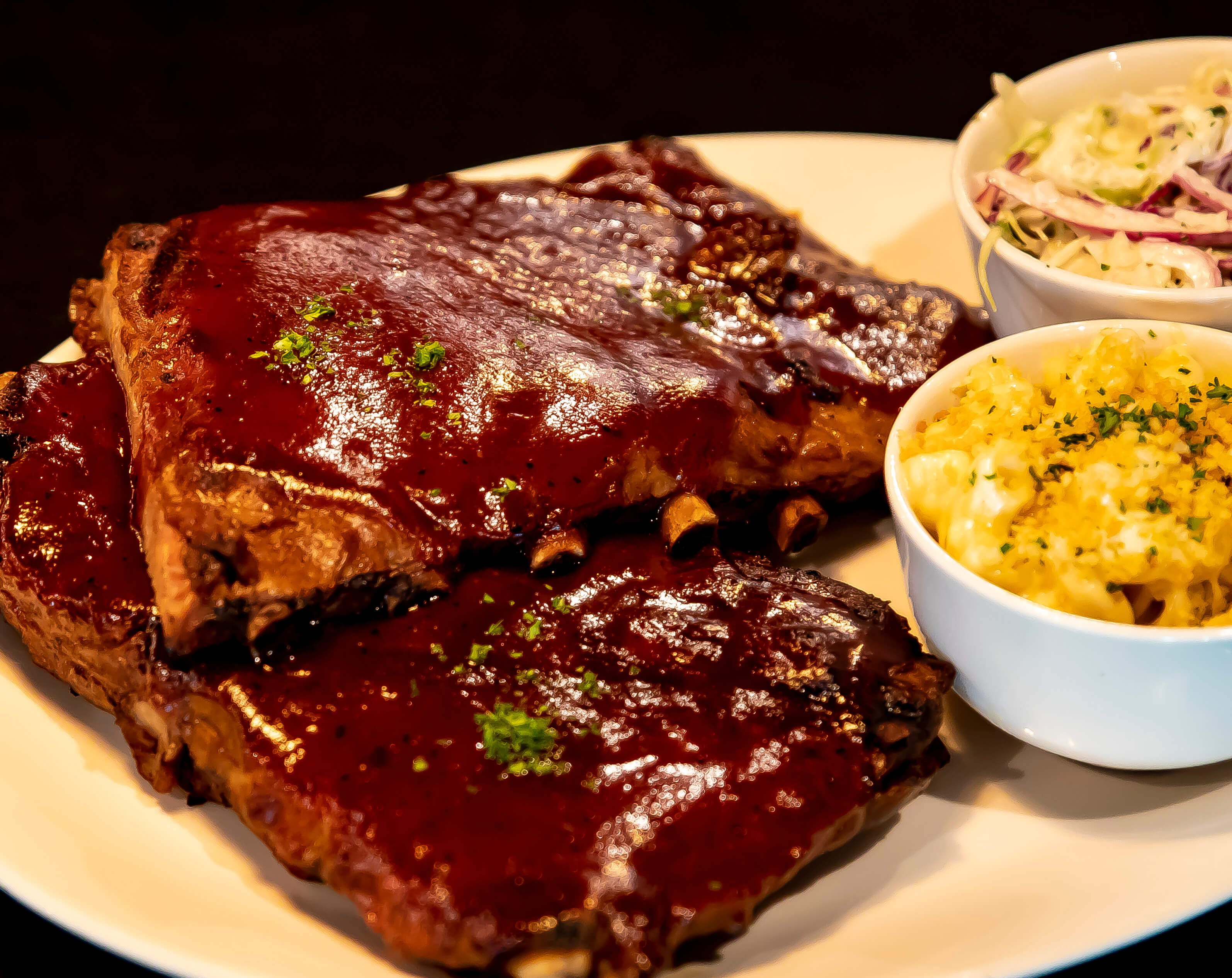 BBQ ribs on plate