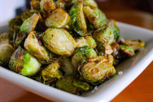 Brussel sprouts on plate Pig & Finch