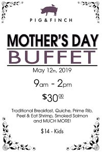 Pig & Finch Mother's Day buffet graphic